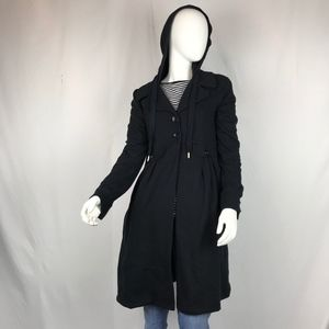 Juicy Couture Black Coat with Hood and Collar